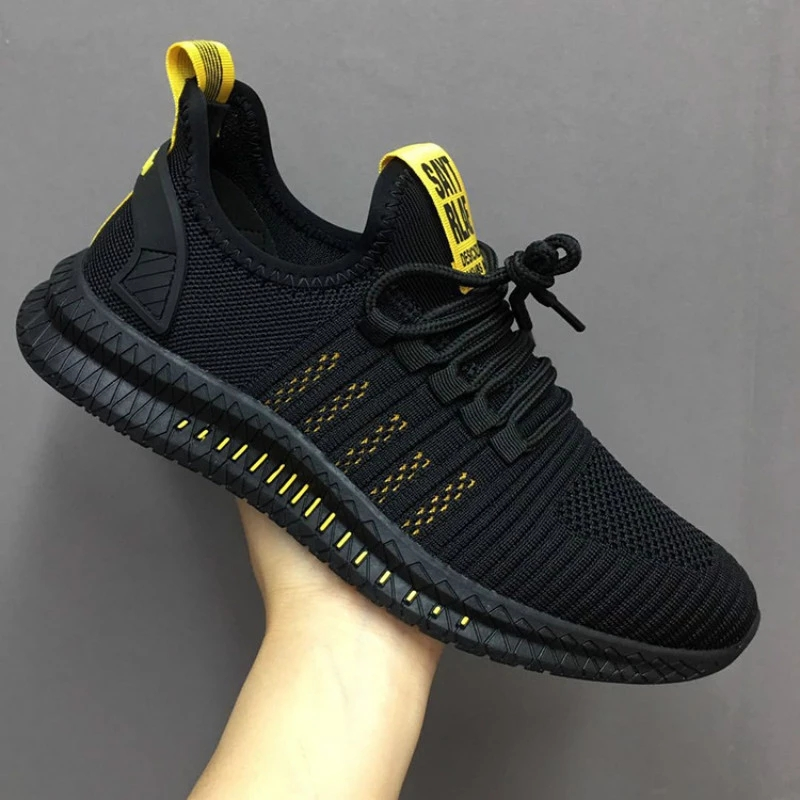 Fashion Men Sneakers Lightweight Mesh Casual Shoes Lace-Up Mens Shoes Breathable Vulcanized Shoes Walking Sneakers 2021