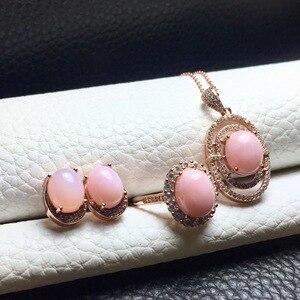 Image 2 - MeiBaPJ טבעי ורוד אופל חן עגילי טבעת ושרשרת 3 חליפת עבור נשים אמיתי 925 סטרלינג כסף בסדר תכשיטי חתונה סט