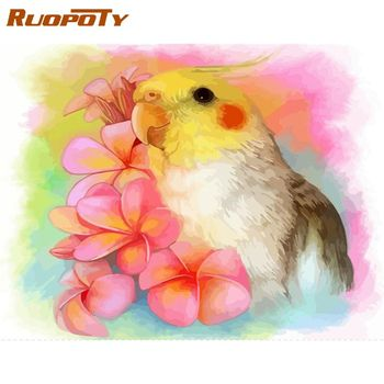 RUOPOTY 60x75cm Frame Paint By Numbers Kits For Kids Hand Painted Flower Parrot Animal Painting By Number Framed Craft Diy Gift