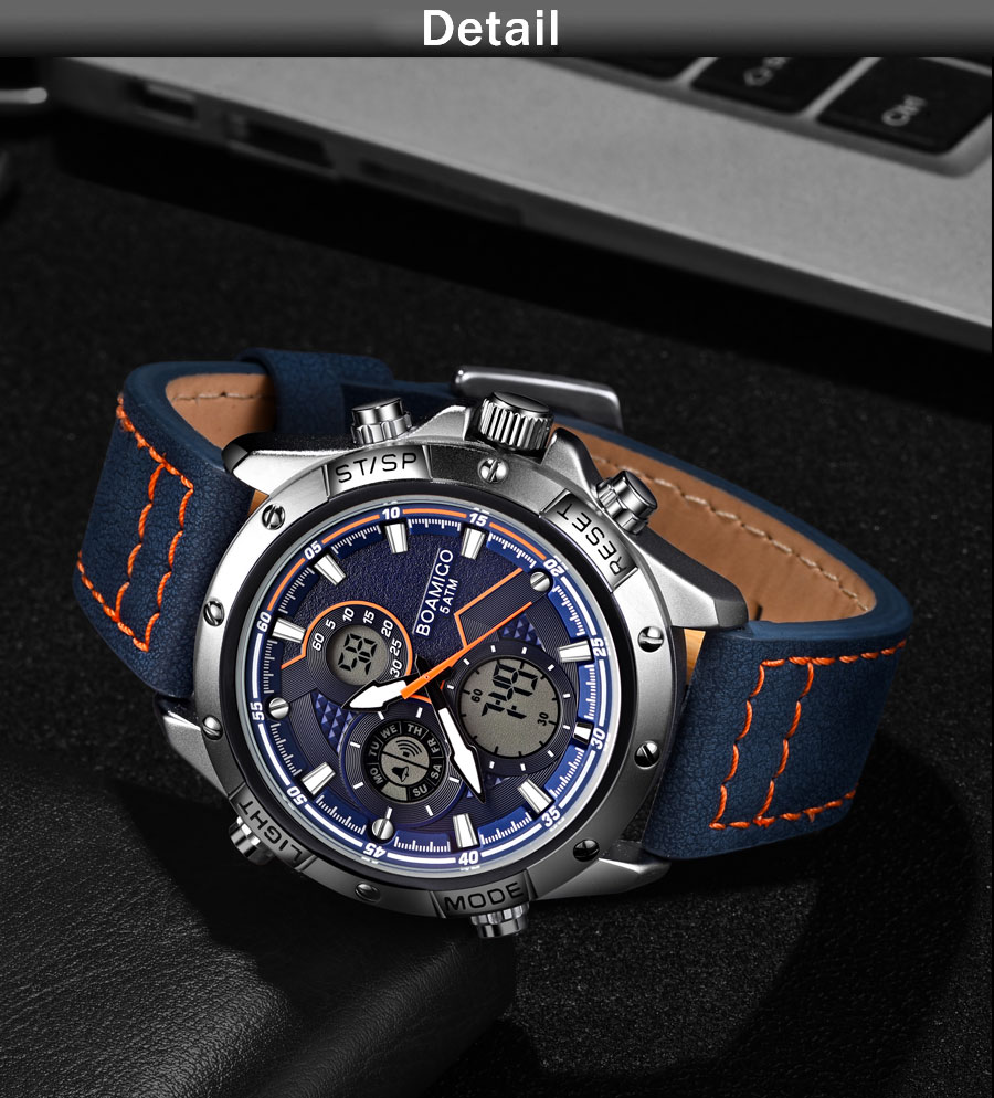 IsMyStore: BOAMIGO Fashion Mens Watches for men Military Digital analog Quartz Chronograph sport Watch  Waterproof clocks