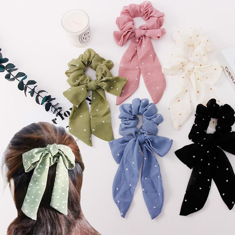 New Women Elegant Dot Bow Ribbon Yarn Elastic Hair Bands Ponytail Holder Scrunchie Hair Ropes Headband Fashion Hair Accessories