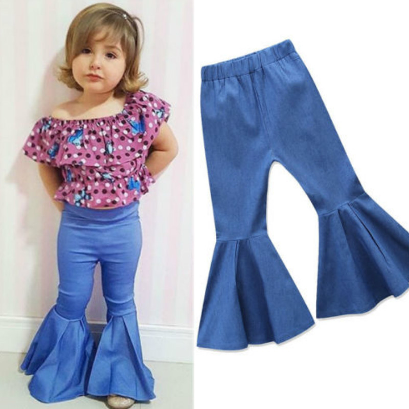 Infant Little Baby Girl Bell-Bottom Ruffle Flare Jeans Denim Leggings Long Pant