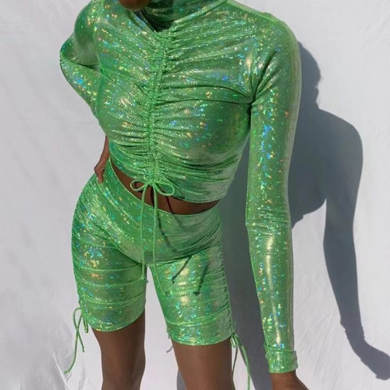 Green Glitter Ruched Two Piece Set Sexy Long Sleeve Fashion 2 Piece Set Women Clothes Club Clothing Two Piece Set Top And Pants