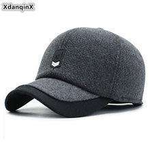 Xdanqinx inverno novo masculino quente boné de beisebol grosso quente earmuffs chapéu ajustável tamanho masculino marca de moda casual boné snapback
