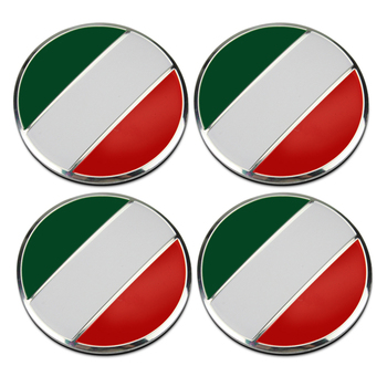 4pcs/set Alloy 56mm Italy Flag Car Wheel Center Hub Caps Sticker Accessories For Mercedes VW Porsche BMW Audi Citroen Skoda Seat image