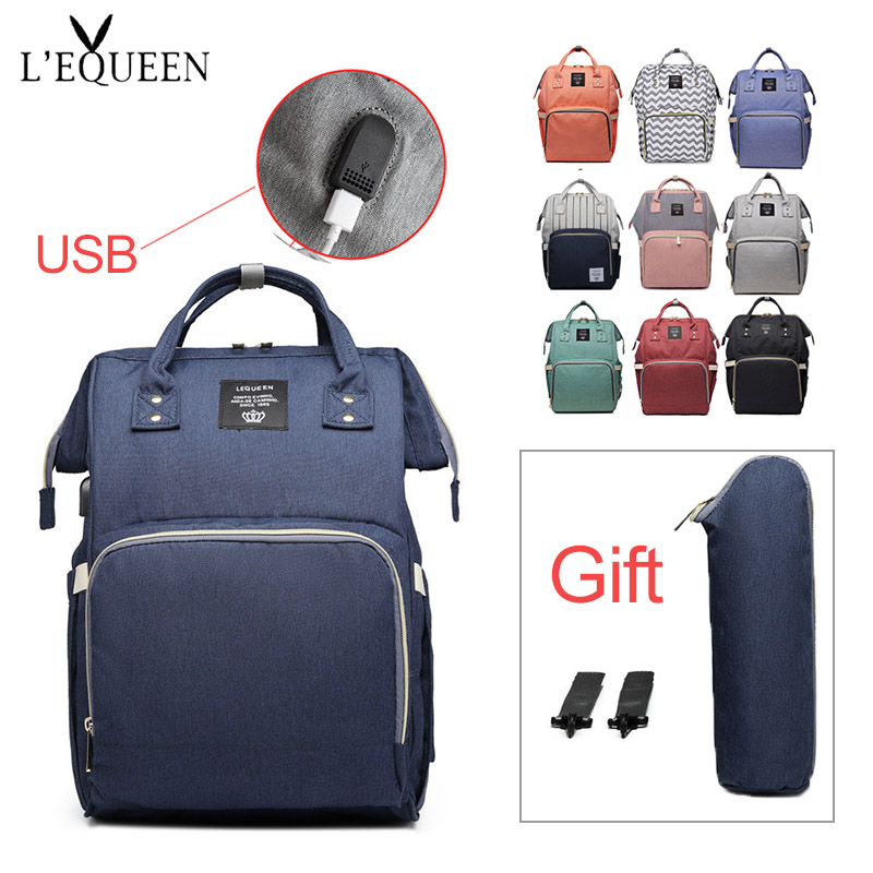 Lequeen Diaper Bag With USB Baby Care Waterproof Travel Backpack Large Capacity Pregnant Bag Mom Nursing Baby Wet Bag Gift Hook