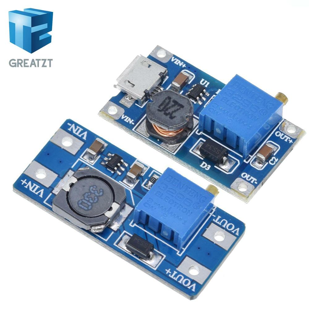 GREATZT MT3608 DC-DC Adjustable Boost Module 2A Boost Plate Step Up Module With MICRO USB 2V-24V To 5V 9V 12V 28V
