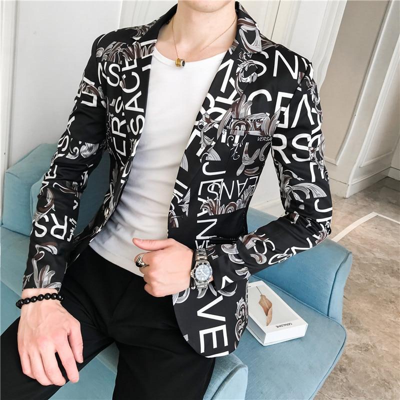 Men/'s Estampado Con Solapa Floral Largo Blazer Prendas de abrigo Chaqueta un botón ajustado abrigos