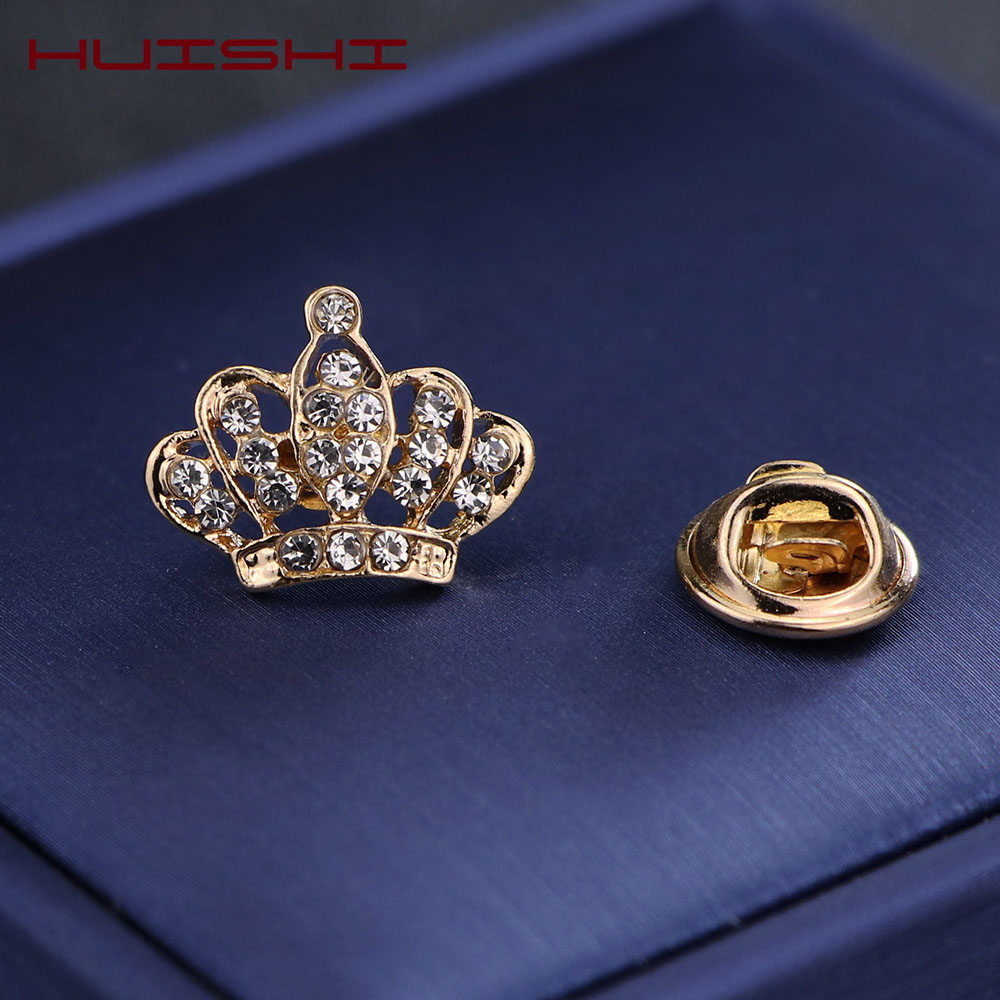HUISHI Brooches For Men Vintage Fashion Triangle Shirt Collar Pin Hollowed Out Crown Leaf Badge Wedding Banquet Fashion Jewelry 3