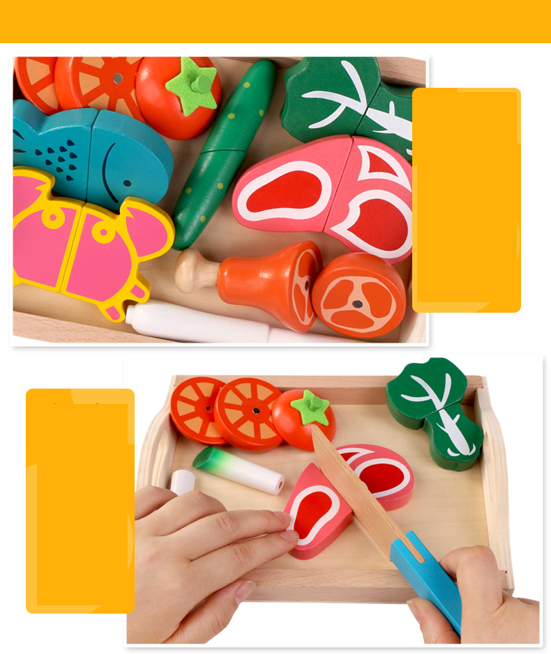 Qwz menina de madeira menino brinquedos frutas