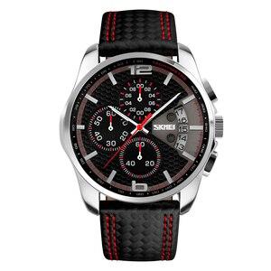 Image 2 - SKMEI Fashion Sport Mens Watches Top Brand Luxury Leather Strap 5Bar Waterproof Quartz Wristwatches Relogio Masculino 9106
