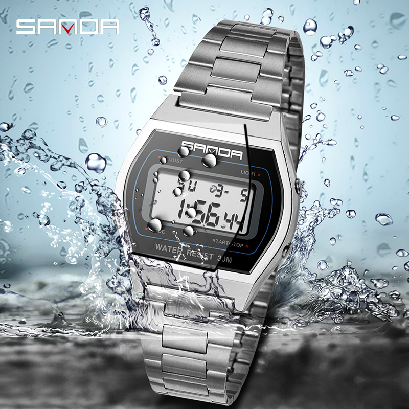 Gold Watch Men Luxury Sport Watch Waterproof Steel Belt Digital Watch Alarm Clock Shockproof Outdoor Electronic Watch Men Reloj in Digital Watches from Watches