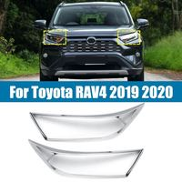 Autoleader 2Pcs Front Head Light Lamp Cover Trim Headlight Eyebrow Strips Car Styling For Toyota RAV4 2019 2020