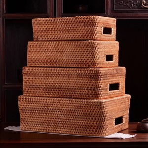 Image 3 - Storage basket DIY Manual Rattan primary color simple portable Miscellaneous food tea practical home kitchen Household items