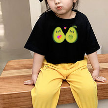 Cotton boys girls kids baby likee t shirt avocado children students