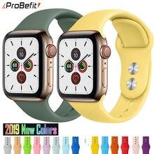 Мягкий силиконовый спортивный ремешок для Apple Watch 5 4 3 2 1 38 мм 42 мм, резиновый ремешок для часов Iwatch series 5 4 40 мм 44 мм