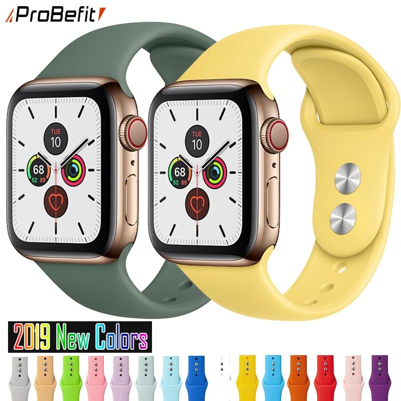 Ремешок для часов, спортивный из мягкого силикона, для Apple Watch 1/2/3/4/5, 38/42/44 мм
