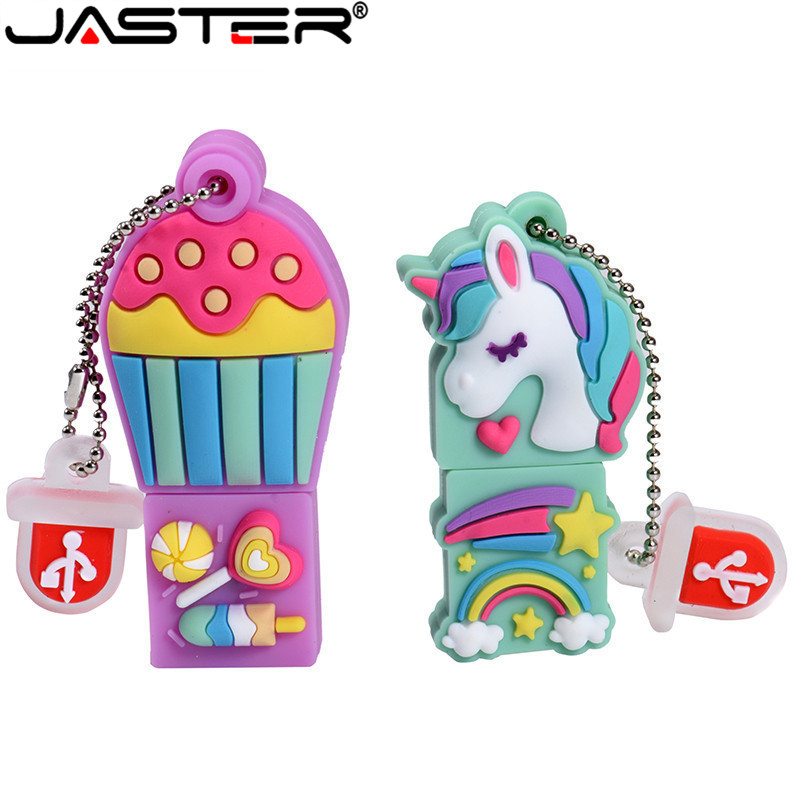 JASTER Cartoon The New Unicorn Pen Drive 64GB 32GB Usb Flash Drive Pendrive 16GB 4GB Memory Stick U Disk Fashion Gift