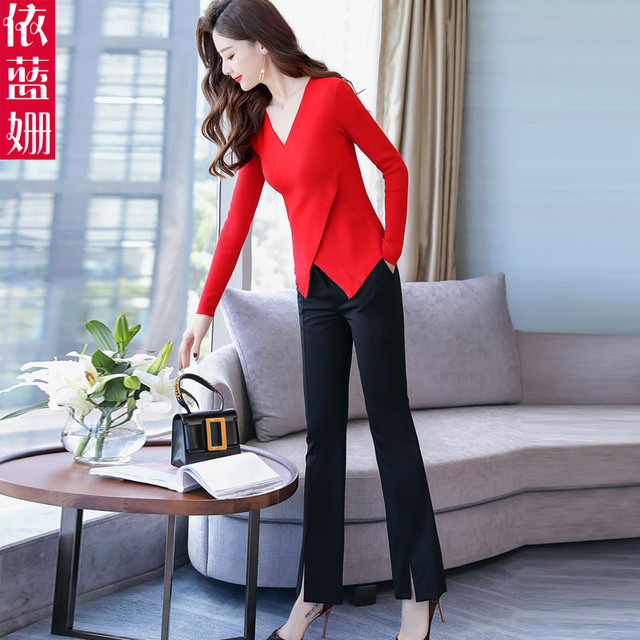 Women's long sleeve ,slim jacket, wide leg pants, two-piece set