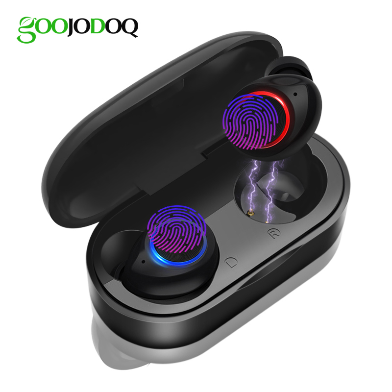 GOOJODOQ Waterproof TWS V5.0 Mini Wireless Headphones Touch Control Bluetooth Earphone Bluetooth Earbuds With Dual Microphone
