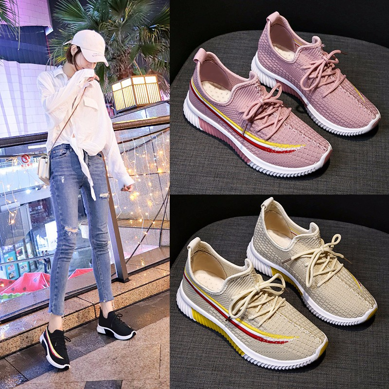 Autumn 2019 new Korean version breathable women's Coconut shoes all kinds of fly woven women's running shoes casual shoes trend