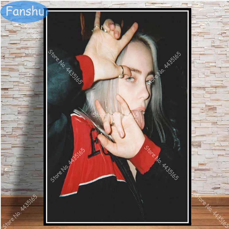 Billie Eilish Poster Musica Album non Sorriso a Me Pop star della Tela di Canapa Pittura Poster e Stampe di Arte Della Parete Immagine camera Complementi Arredo Casa