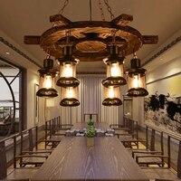 빈티지 산업 로프트 led 펜 던 트 조명 북유럽 레트로 단단한 나무 펜 던 트 램프 생활 roon 레스토랑 카페 바 홈 장식 램프