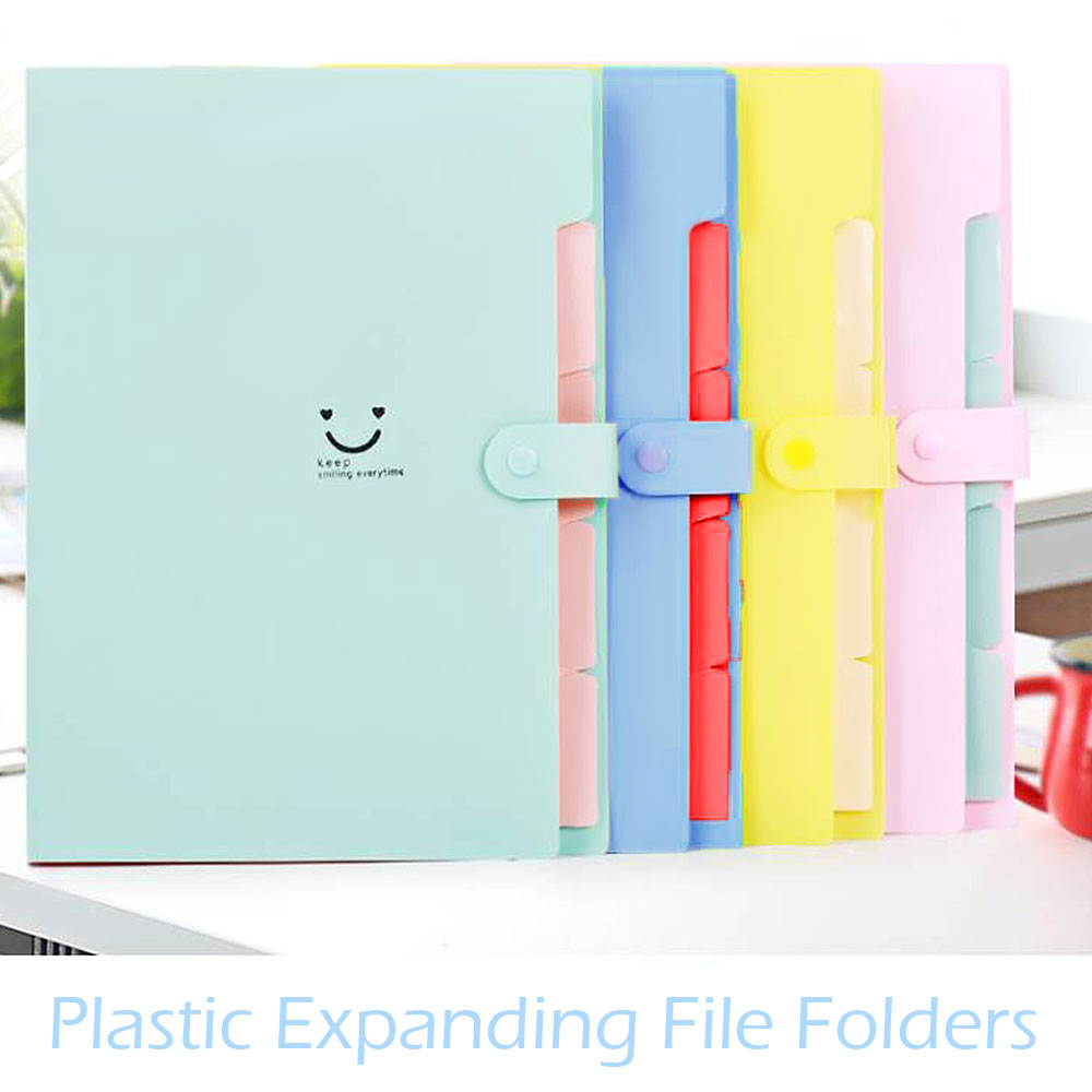 Portable A4 Filing Candy Color Folder 5 Pocket File Folder Expanding Wallet Plastic Multi-function Folder Stationery Storage Bag