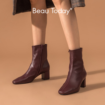 BeauToday High Heel Boots Women Sheepskin Genuine Leather Fashion Square Toe Side Zipper Lady Ankle Boots Winter Shoes 03370 haraval luxury women winter ankle boots high quality retro round toe square low heel shoes warm black elegant zipper boots b199