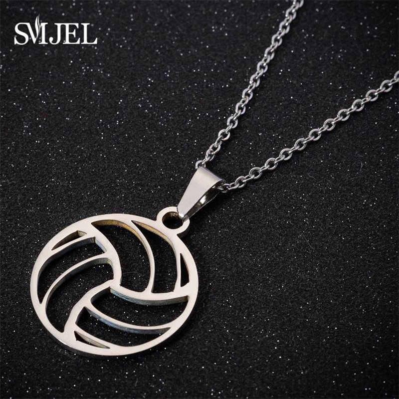 Smjel na moda futebol vôlei futebol charme colar pingente esporte bola jóias masculino menino crianças presente de aço inoxidável collare