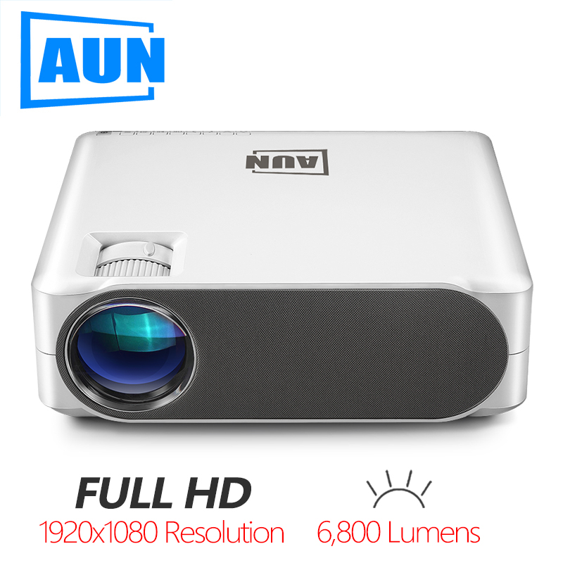 AUN Full HD Projector AKEY6/S, 6800 Lumens 1920x1080P, Optional Android 6.0 WIFI Beamer, LED Video Projector For 4K Home Cinema.