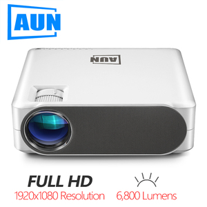 AUN Full HD Projector AKEY6/S, 6800 Lumens 1920x1080P, Optional Android 6.0 WIFI Beamer, LED Video Projector for 4K Home Cinema.(China)