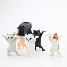 Kid Funny Decor Carrying A Coffin Cat Pen Holder Home Bookshelf Decoration Animal Statue Handmade Doll