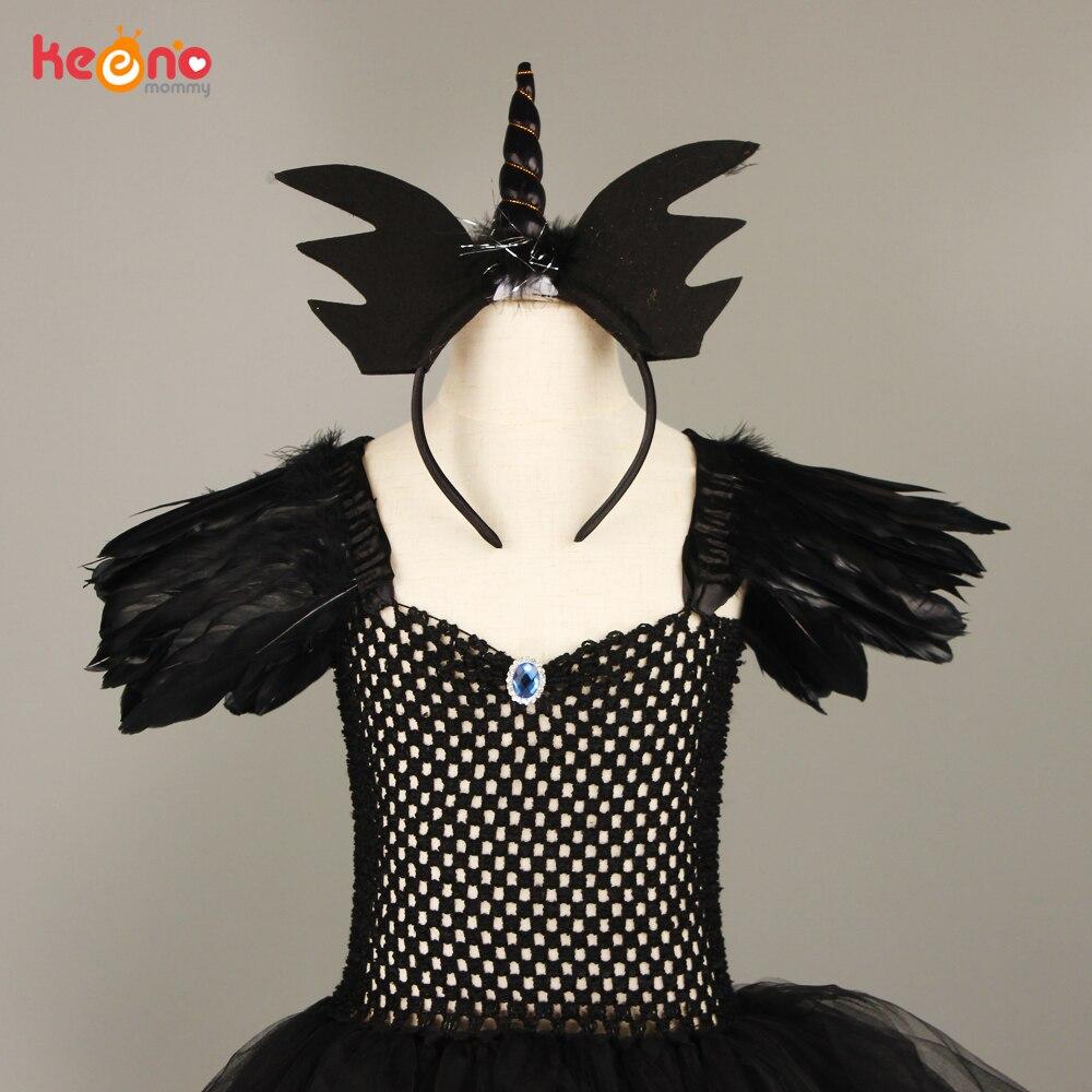 Black Dark Angel Girls Tutu Dress V-neck Train Girls Pageant Evening Party Ball Gown Fancy Dresses Kids Halloween Witch Costume 5