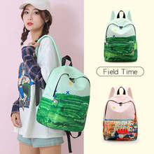 Travel Backpack Designer Oxford Landscape Zipper Black Preppy Style Backpacks For Teenage Girls Mochila Notebook Plecak