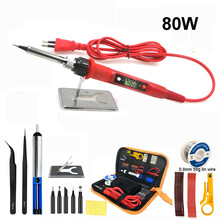 60W/80W  digital electric soldering iron welding iron staion 110V 220V with soldering accessories tips stand  0.8mm 50g tin wire