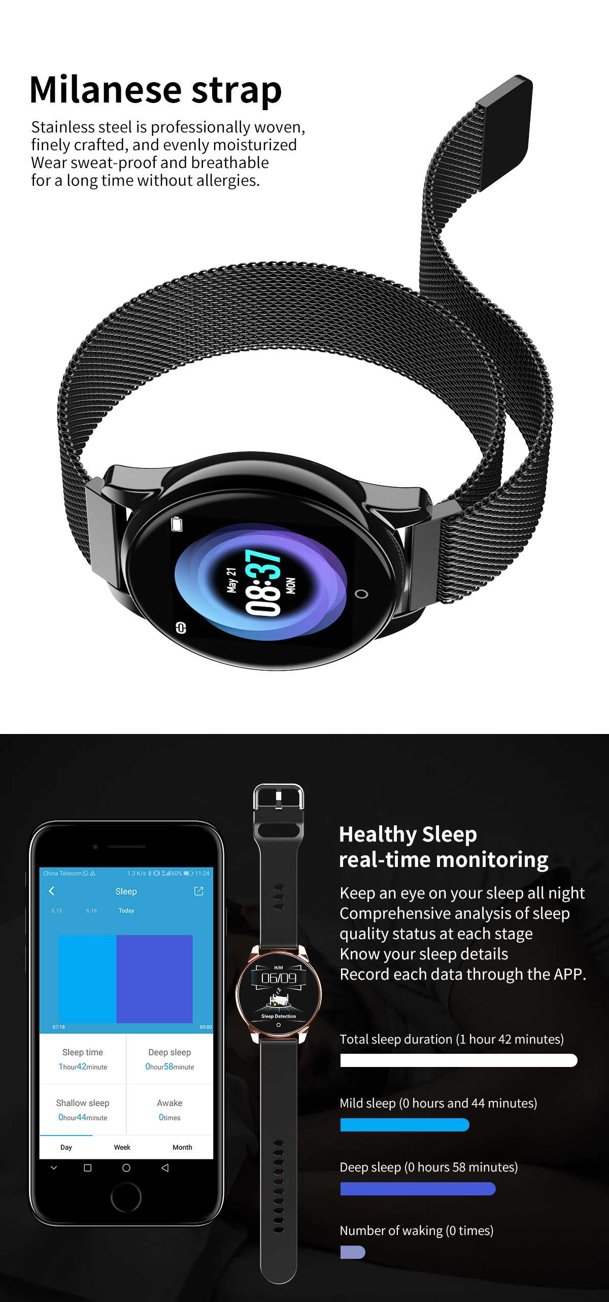 M4  Fitness SIngle Touch Band 24-Hour Heart Rate Blood Pressure Sleep Monitor Business Style Smart Watch Men Women