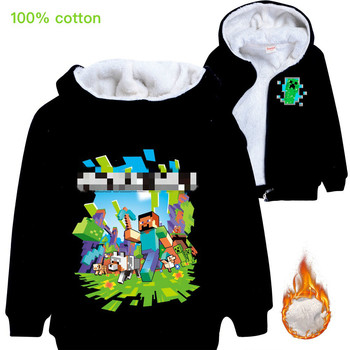 Childrens winter cardigan zipper thick coat Minecrafters cartoon for boys and girls  teen Sweater Hoodie