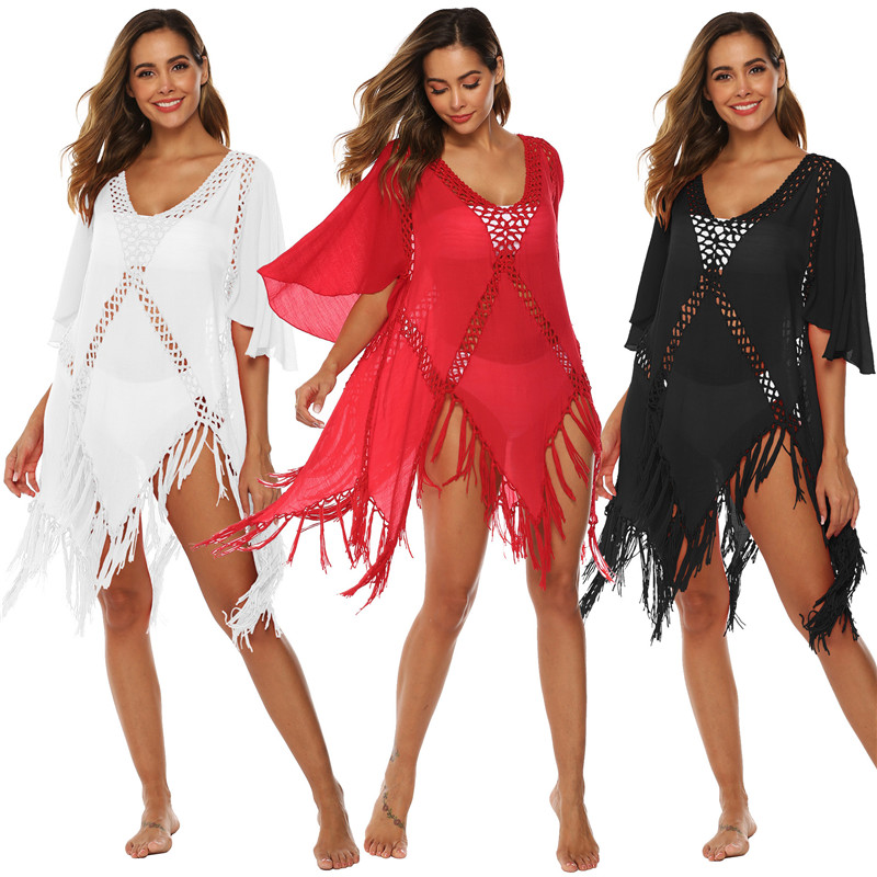 Sexy Beach Cover Up Dress Trumpet Sleeve Long Bathing Dresses Red White Tassel Beachwear Bikini Cover Up Solid Hollow Out Dress