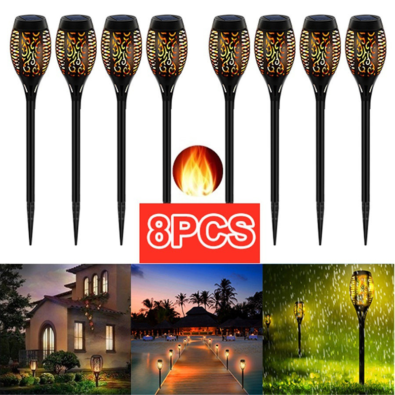 LED Solar Flame Light Lamp Flickering Waterproof Garden Decoration Landscape Lawn Lamp Path Lighting Torch Outdoor Spotlight
