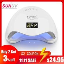 SUNUV secador de uñas SUN5, lámpara de uñas LED UV Dual de 48W, luz de curado de esmalte de Gel con temporizador inferior de 30s/60s, pantalla LCD