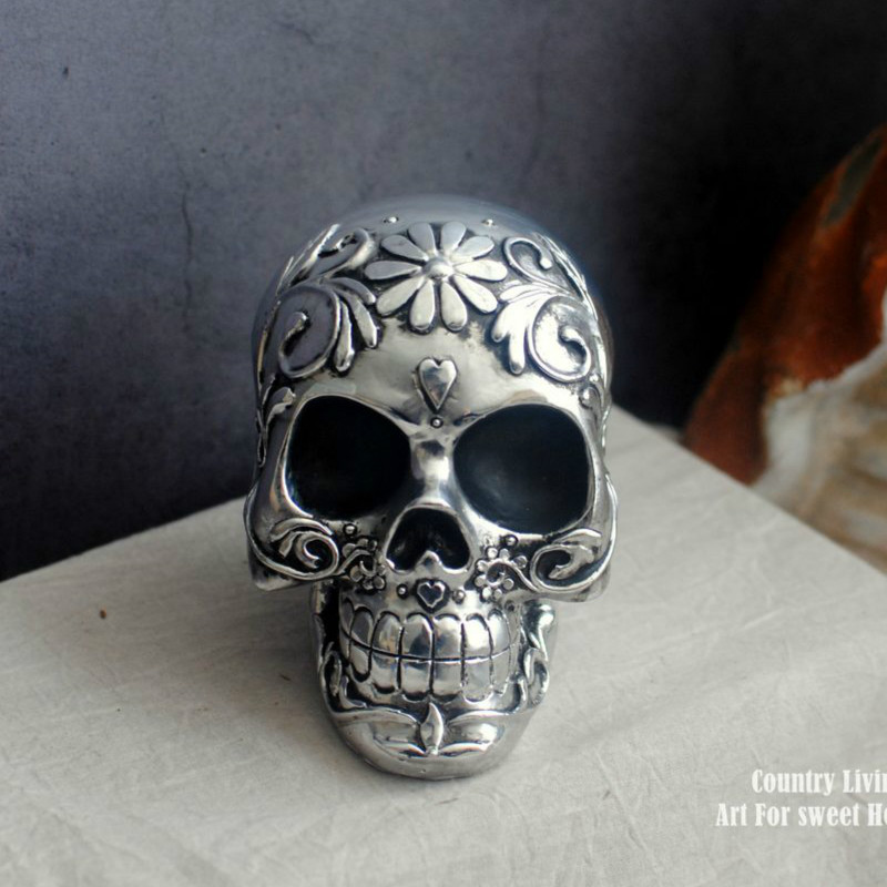 Rock Punk Gothic Silver Old Resin Pattern Skull Statue Sculpture Personality Retro Shop Decorations Ornaments|Statues & Sculptures| |  - title=