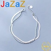 A00535 Jazaz Echtem 100% 925 Sterling Silber Doppel Perle Charme Kette Armbander pelz Frauen Party Hochzeit Minimalismus