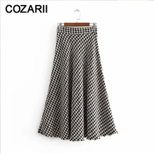 Tweed women elegant long skirts 2019 winter ladies fashion Houndstooth plaid skirt female falda jupe femme girls chic clothes