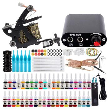 Starter Tattoo Machine Set 1 Coils Guns 40 Colors Pigment Inks Sets Black Power Tattoo Beginner Grip Permanent Makeup Tattoo Kit 2 tattoo machine guns power supply pigment inks sets body art permanent makeup professional tattoo set