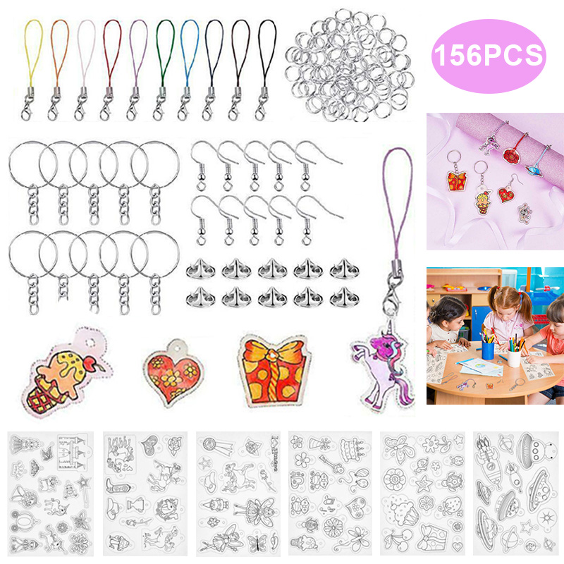 156pcs/set Heat Shrink Sheet Plastic Sheet Kit Shrinky Paper Hole Punch Keychains Keyring DIY Drawing Art Embossing Tool