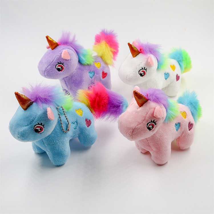 15CM Colorful Unicorn Plush Toy Pendant Keychain Stuffed Animal Plush Keychains Small Pendant Bag Accessories Toys
