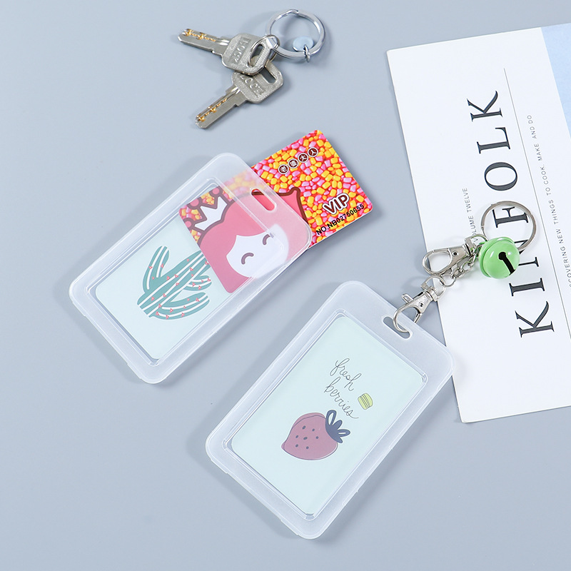 Transparent Bus Card Holder Access Card Protective Case With Bell Creative Simple Work Card Bag Cute Meal Card Holder