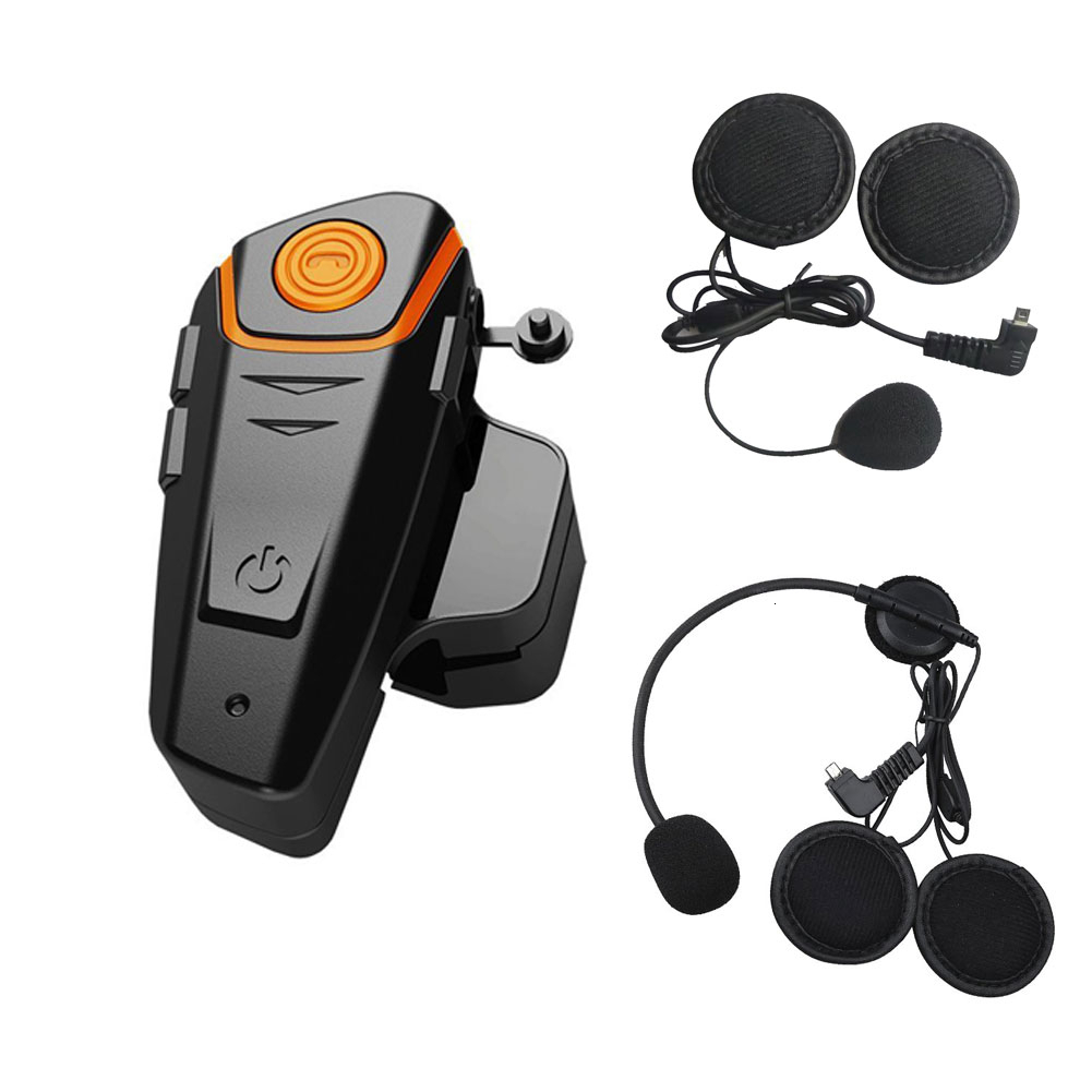 Motorcycle Intercom Waterproof Bt-S2 Interphone 1000m Bluetooth Intercomunicador Helmet Interfones Headset Fm + Soft Earpiece