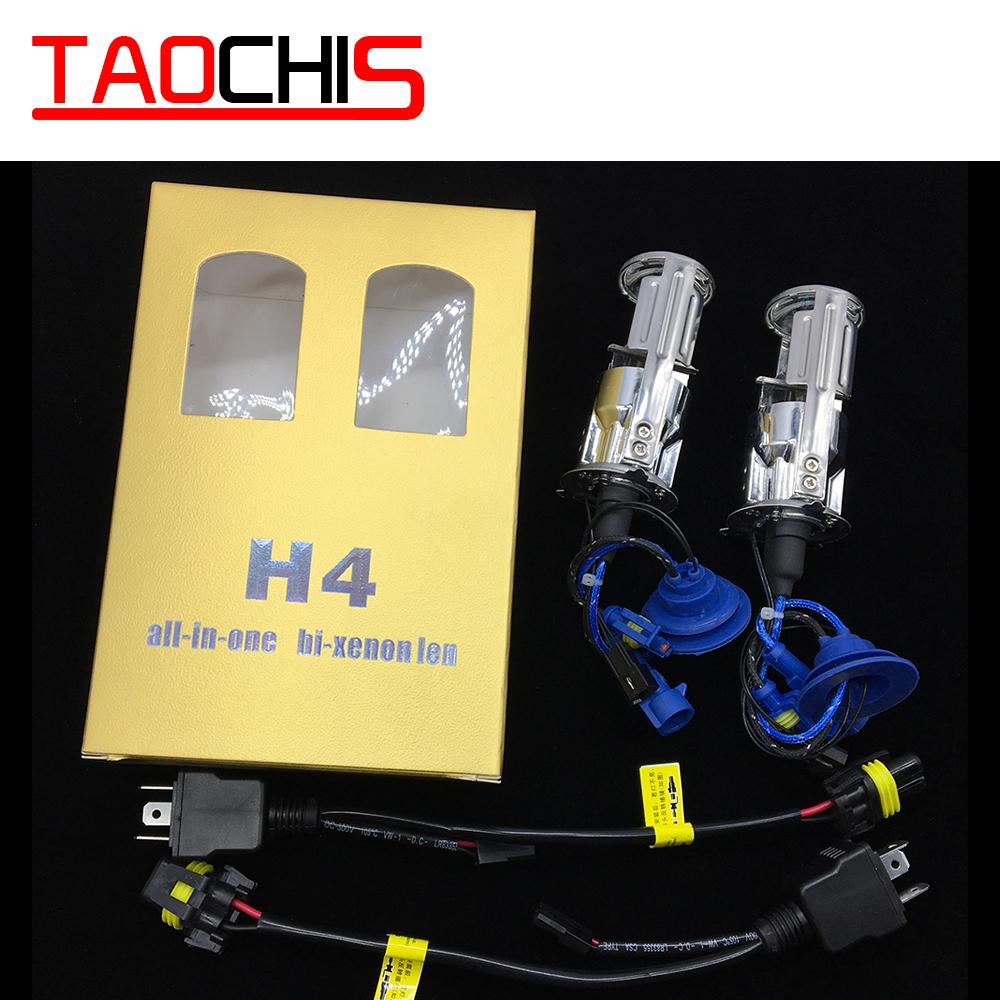TAOCHIS 2x 55W H4 LHD Bi-Xenon Bulbs Lossless HID Bulb Light Lamp Hi/Lo Beam Headlight with Mini Projector Lens 4300K 6000K